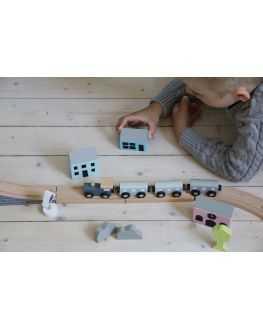 Circuit train en bois 36 pièces