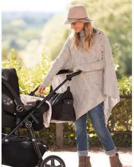 Châle grossesse allaitement laine grise Nylah