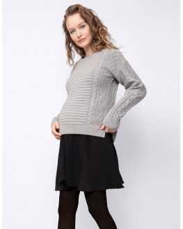 Pull tunique maternité allaitement gris Catina