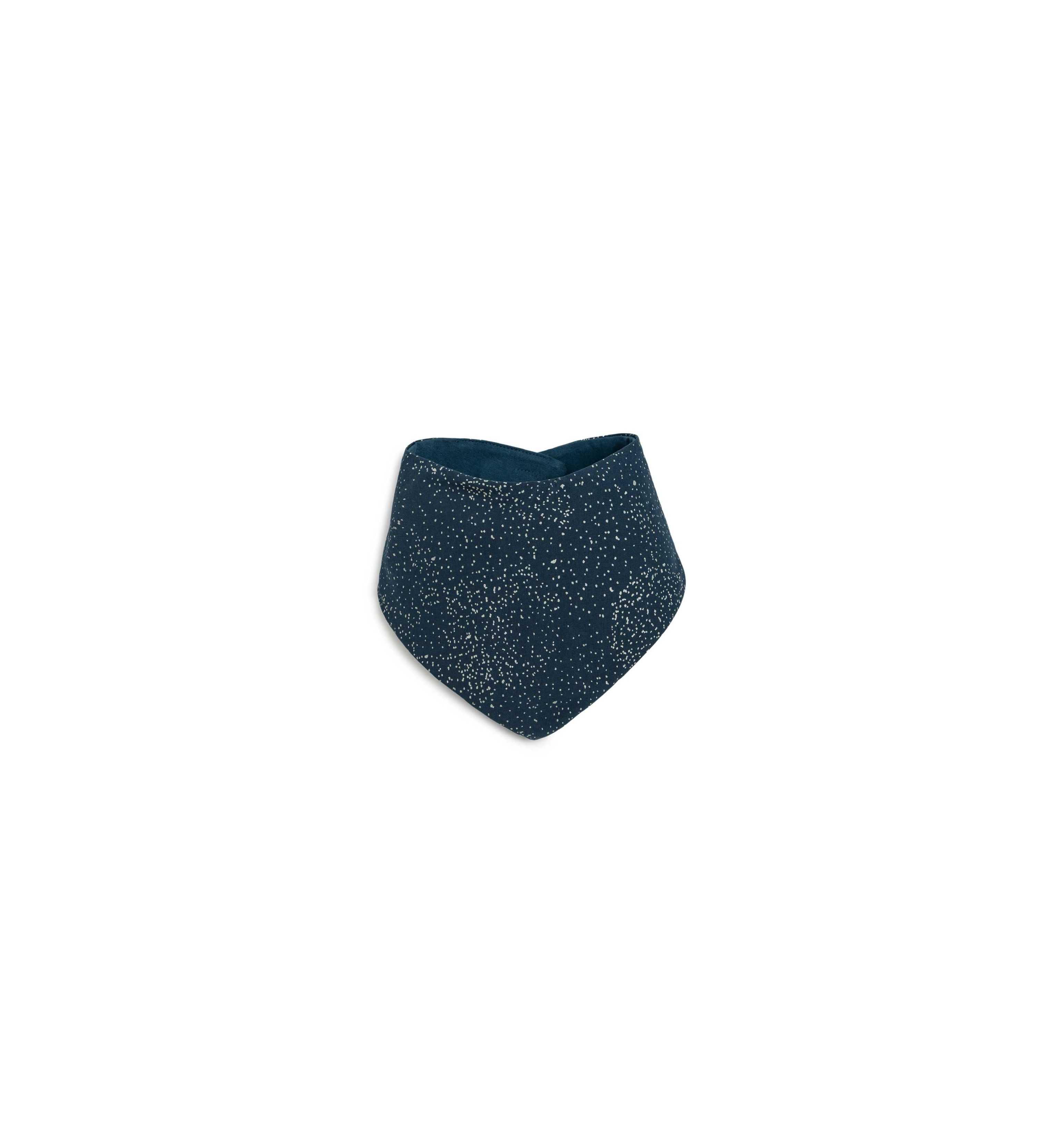 Bavoir bandana bleu bulles argentées