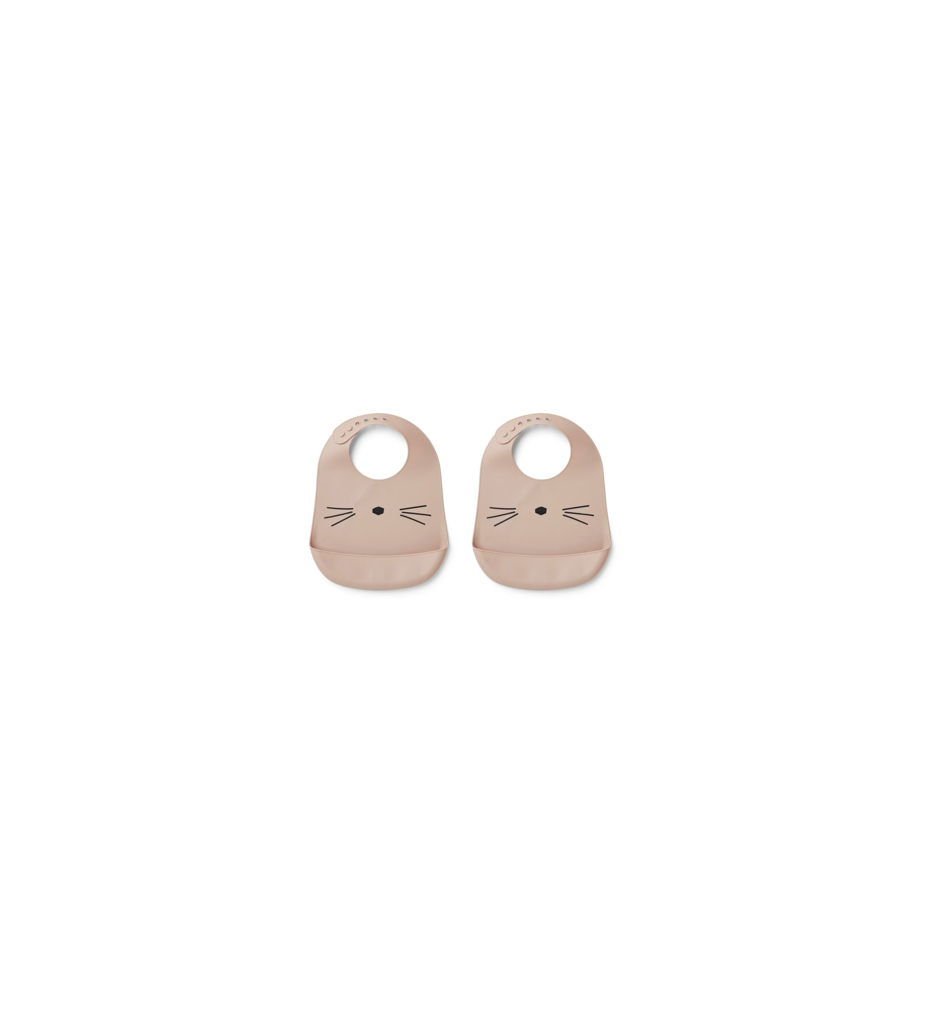 Pack 2 bavoirs silicone Chat rose