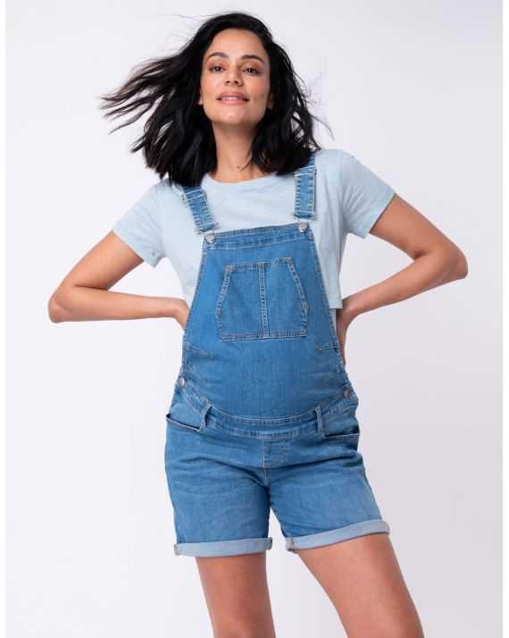 Salopette short jean femme enceinte