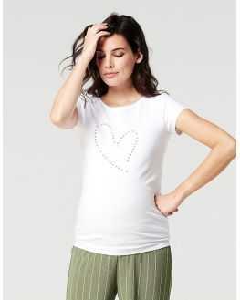 Tee shirt grossesse blanc coeur