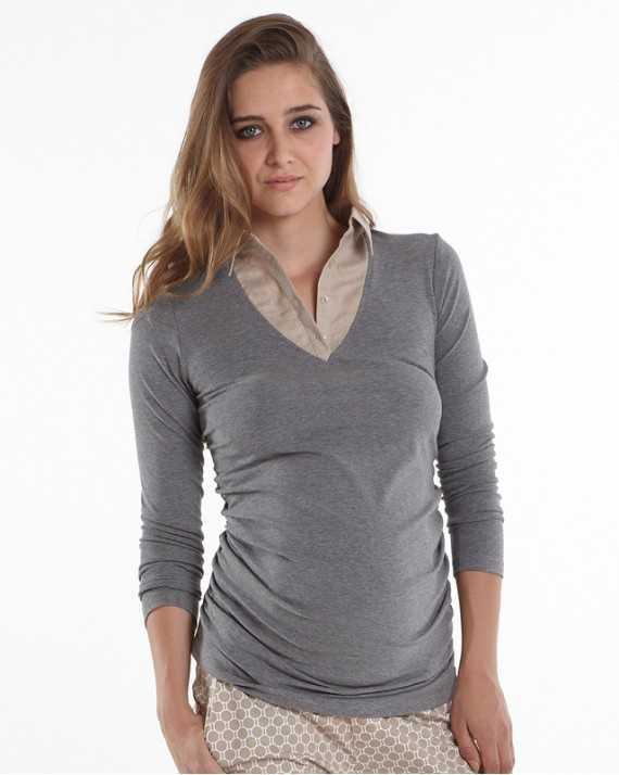 Haut de grossesse faux col chemise