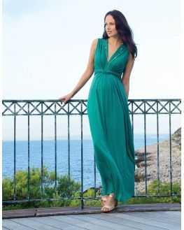 Robe longue vert emeraude de grossesse