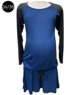 Robe grossesse bleue manches grises
